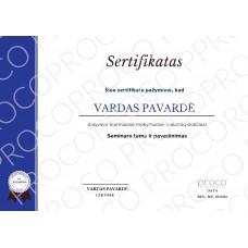 Popierinis sertifikatas ONLINE mokymų dalyviams