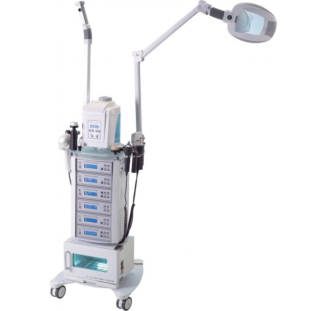 Veido priežiūros aparatas su garintuvu, LED lempa ir rankšluosčių džiovintuvu