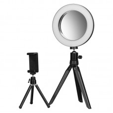Žiedinė LED lempa su veidrožiu ir telefono laikikliu