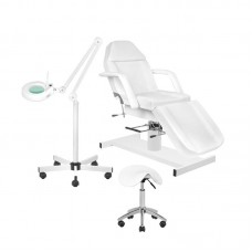 Kosmetologinė kėdė + meistro kėdutė + LED lempa lupa