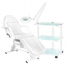 Kosmetologinė kėdė + kosmetologinis staliukas + LED lempa lupa