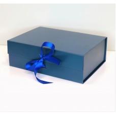 Magnetinė dovanų dėžutė su kaspinu (Mėlyna M 28x21x9cm)