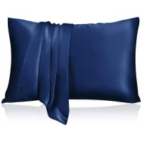 Natūralaus šilko užvalkaliukas su užtrauktuku pagalvei (mėlynas)